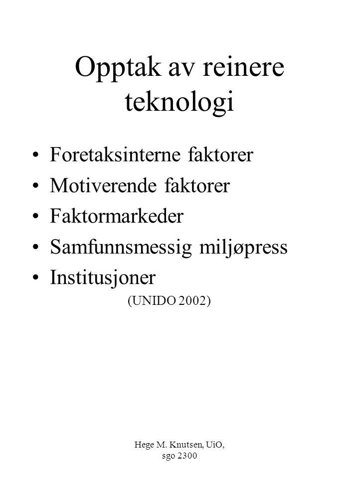Hege M. Knutsen, UiO, sgo 2300 Opptak av reinere teknologi Foretaksinterne faktorer Motiverende faktorer Faktormarkeder Samfunnsmessig miljøpress Inst