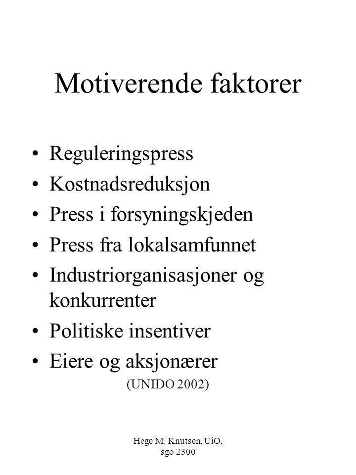 Hege M. Knutsen, UiO, sgo 2300 Motiverende faktorer Reguleringspress Kostnadsreduksjon Press i forsyningskjeden Press fra lokalsamfunnet Industriorgan