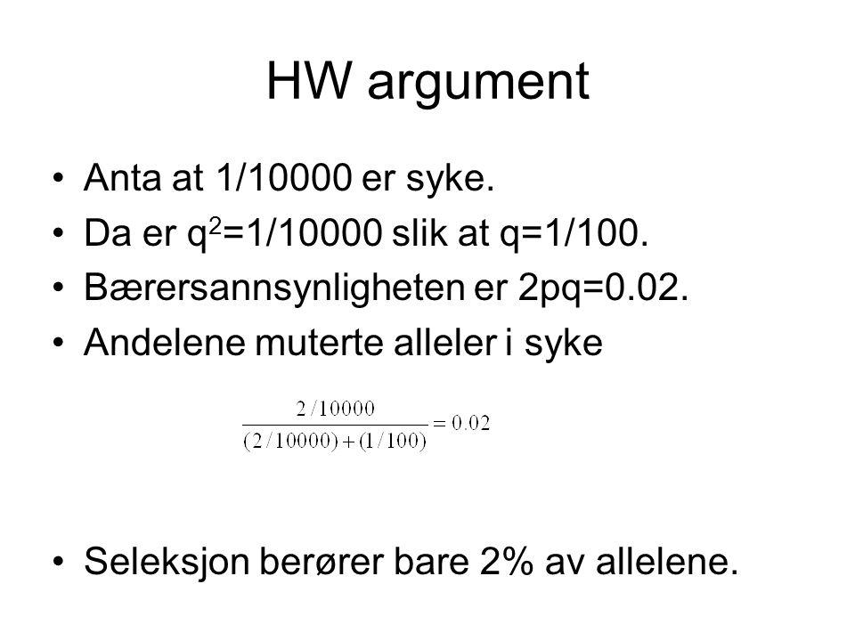 HW argument Anta at 1/10000 er syke. Da er q 2 =1/10000 slik at q=1/100.