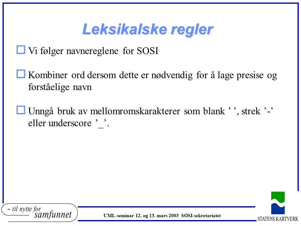Leksikalske regler o Vi følger navnereglene for SOSI o Kombiner ord dersom dette er nødvendig for å lage presise og forståelige navn o Unngå bruk av mellomromskarakterer som blank ' ', strek '-' eller underscore '_'.