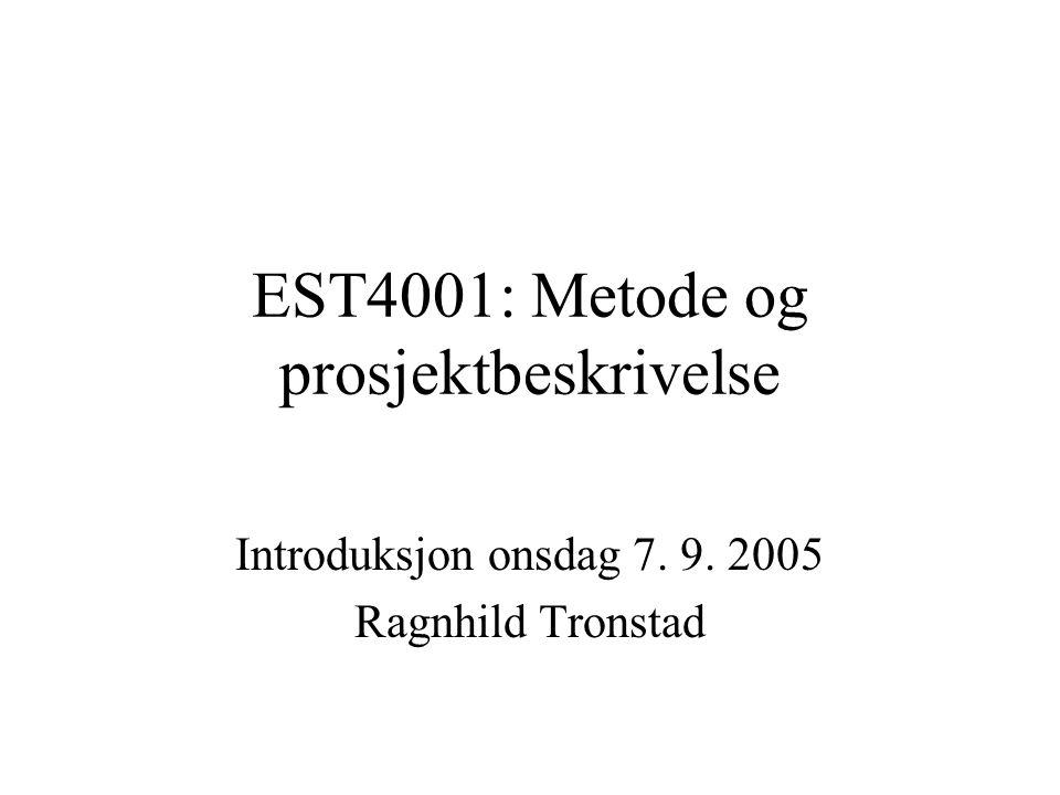 Prosjektbeskrivelsen Arbeidstittel Tema, begrunnelse, faglig plassering, Problemstilling Teoretiske perspektiver Metodisk tilnærming Disposisjon/kapitteloversikt Tidsplan Litteraturliste