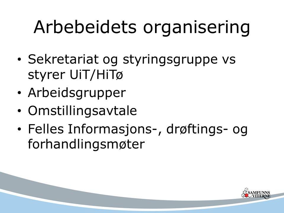 Arbebeidets organisering Sekretariat og styringsgruppe vs styrer UiT/HiTø Arbeidsgrupper Omstillingsavtale Felles Informasjons-, drøftings- og forhand