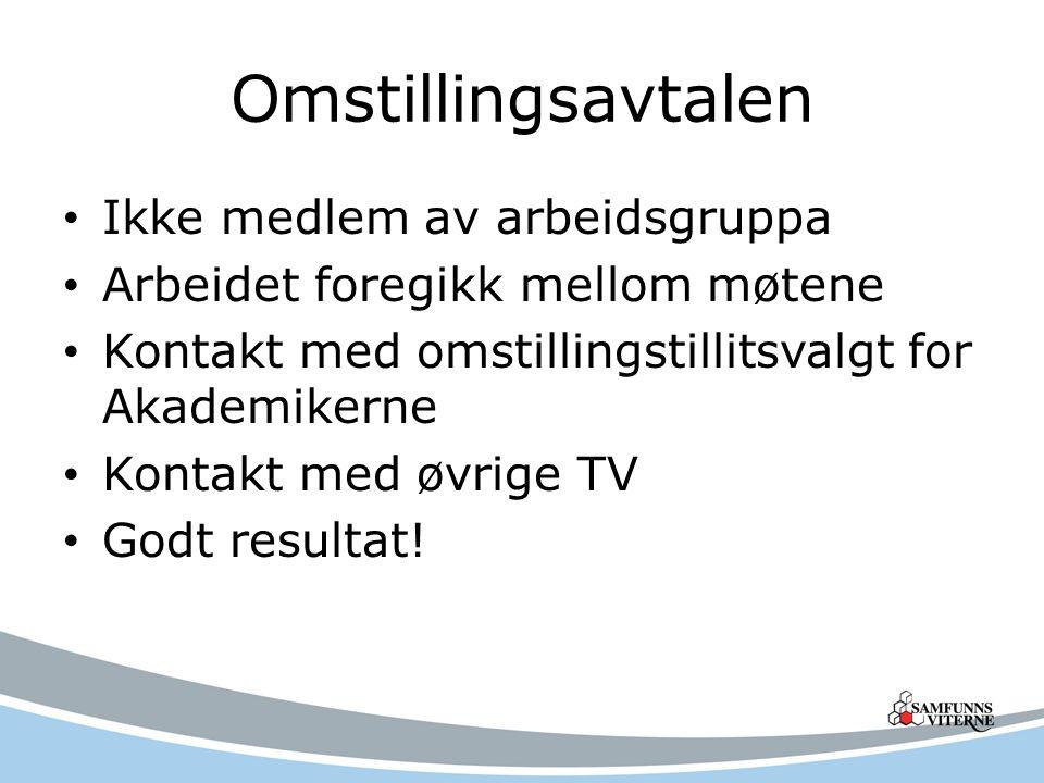 Omstillingsavtalen Ikke medlem av arbeidsgruppa Arbeidet foregikk mellom møtene Kontakt med omstillingstillitsvalgt for Akademikerne Kontakt med øvrige TV Godt resultat!
