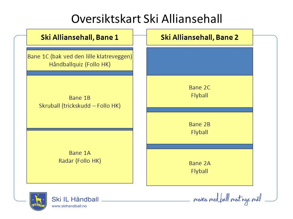 Oversiktskart Ski Alliansehall Ski Alliansehall, Bane 1 Bane 1C (bak ved den lille klatreveggen) Håndballquiz (Follo HK) Bane 2C Flyball Bane 1B Skruball (trickskudd – Follo HK) Bane 1A Radar (Follo HK) Ski Alliansehall, Bane 2 Bane 2B Flyball Bane 2A Flyball