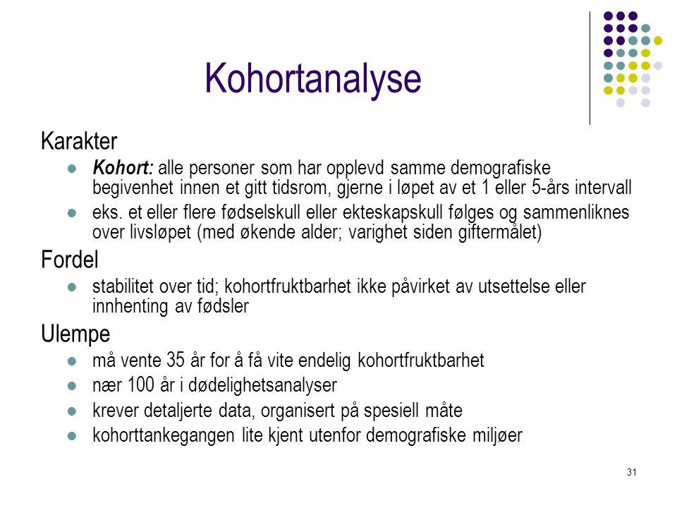 31 Kohortanalyse Karakter Kohort: alle personer som har opplevd samme demografiske begivenhet innen et gitt tidsrom, gjerne i løpet av et 1 eller 5-år