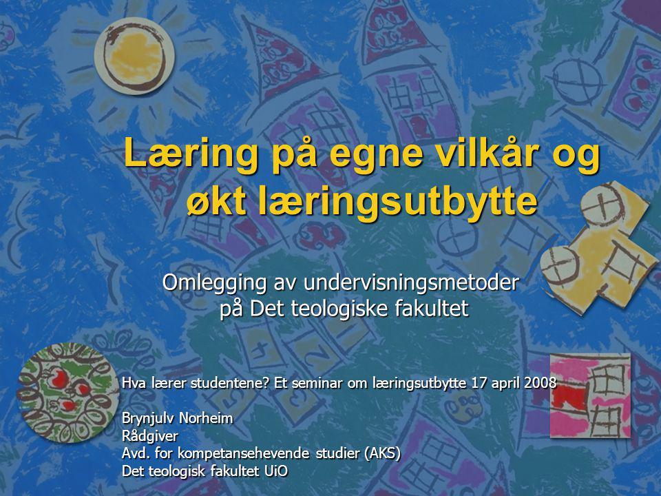 Kvalitetsreformen på TF n n Undervisningsnivået: – –Endringer i lærings- undervisnings- og eksamensformer.