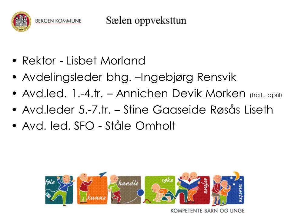 Rektor - Lisbet Morland Avdelingsleder bhg. –Ingebjørg Rensvik Avd.led. 1.-4.tr. – Annichen Devik Morken (fra1. april) Avd.leder 5.-7.tr. – Stine Gaas