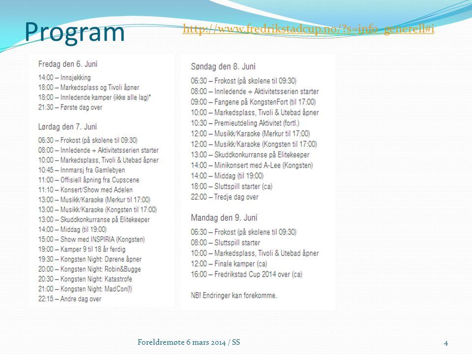 Program Foreldremøte 6 mars 2014 / SS4 http://www.fredrikstadcup.no/?s=info_generell#i