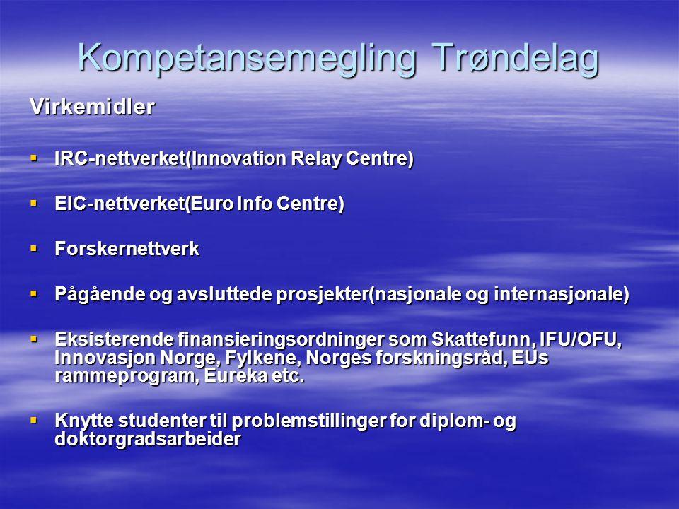 Kompetansemegling Trøndelag Virkemidler  IRC-nettverket(Innovation Relay Centre)  EIC-nettverket(Euro Info Centre)  Forskernettverk  Pågående og avsluttede prosjekter(nasjonale og internasjonale)  Eksisterende finansieringsordninger som Skattefunn, IFU/OFU, Innovasjon Norge, Fylkene, Norges forskningsråd, EUs rammeprogram, Eureka etc.
