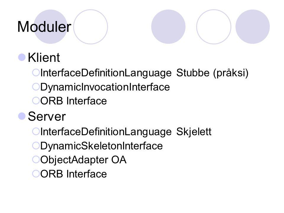 COS Common Object Services Tjenester tilbudt av ORB Applikasjons- uavhengig ServiceDescription CollectionFacilities for grouping objects into lists, queue, sets, etc.