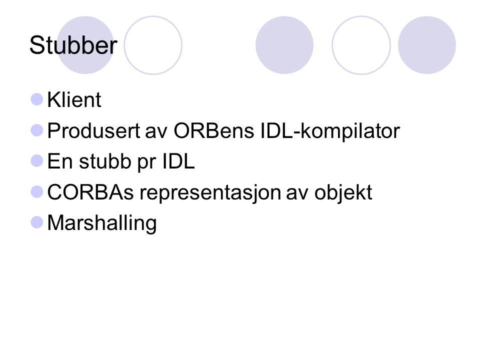 Stubber Klient Produsert av ORBens IDL-kompilator En stubb pr IDL CORBAs representasjon av objekt Marshalling
