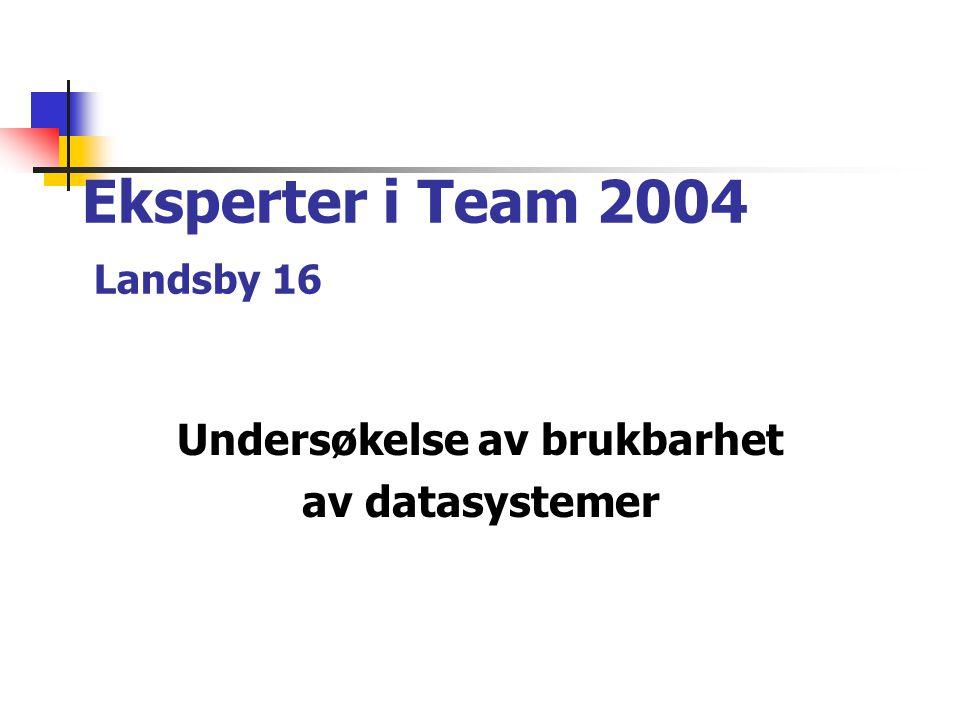 Eksperter i Team 2004 Landsby 16 Undersøkelse av brukbarhet av datasystemer