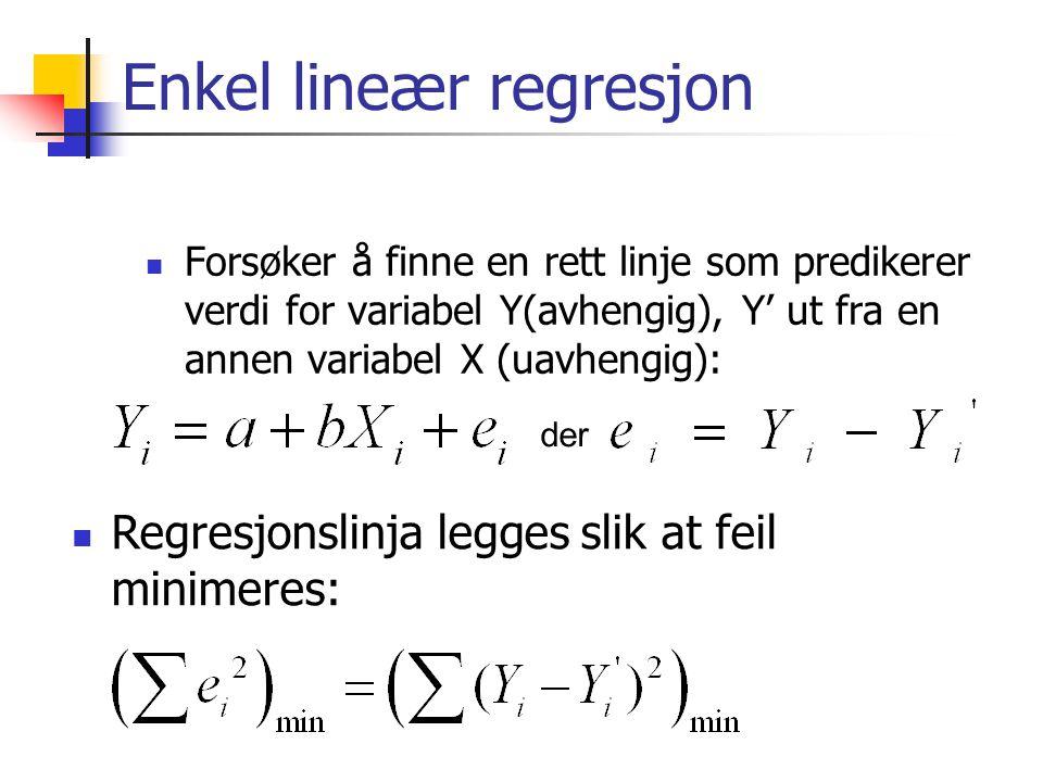 Enkel lineær regresjon Forsøker å finne en rett linje som predikerer verdi for variabel Y(avhengig), Y' ut fra en annen variabel X (uavhengig): der Regresjonslinja legges slik at feil minimeres: