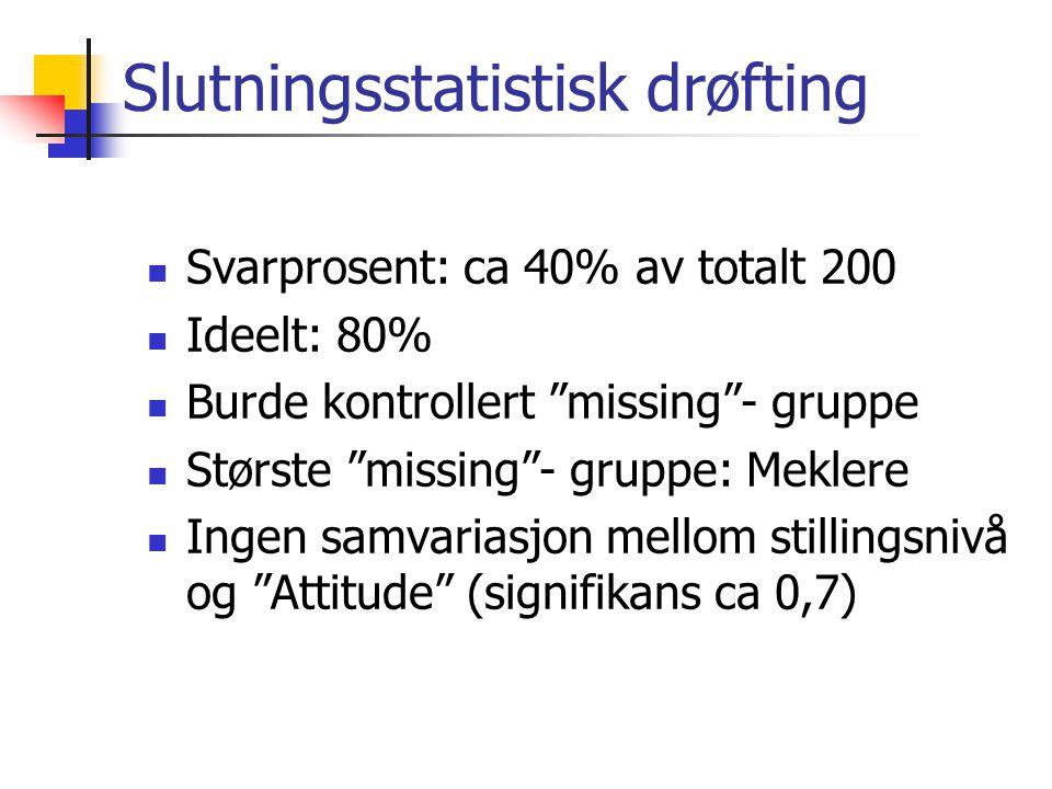 """Slutningsstatistisk drøfting Svarprosent: ca 40% av totalt 200 Ideelt: 80% Burde kontrollert """"missing""""- gruppe Største """"missing""""- gruppe: Meklere Inge"""
