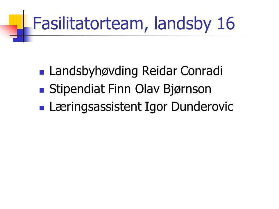 Fasilitatorteam, landsby 16 Landsbyhøvding Reidar Conradi Stipendiat Finn Olav Bjørnson Læringsassistent Igor Dunderovic