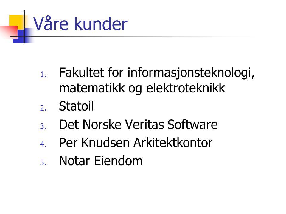 Våre kunder 1. Fakultet for informasjonsteknologi, matematikk og elektroteknikk 2. Statoil 3. Det Norske Veritas Software 4. Per Knudsen Arkitektkonto
