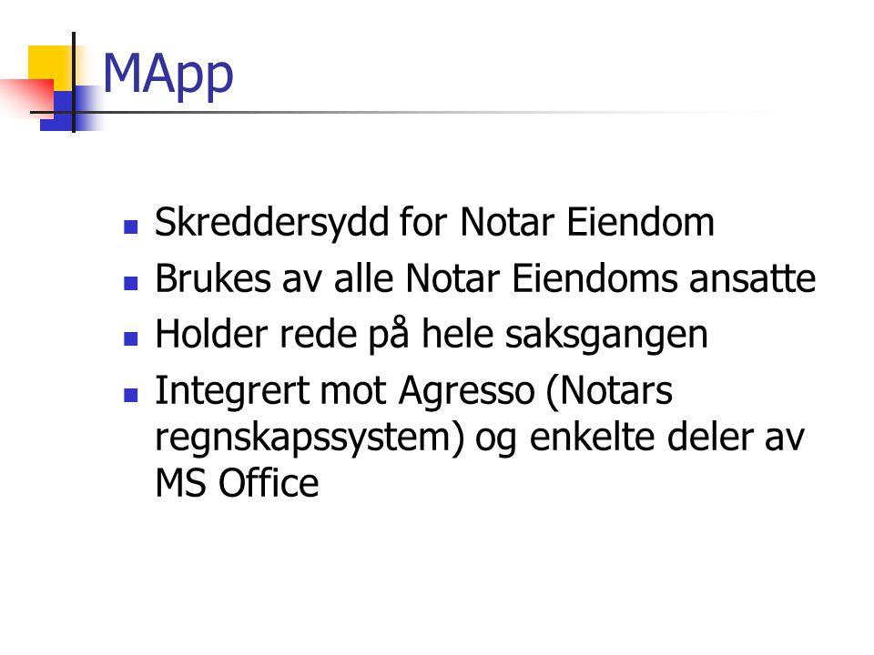 MApp Skreddersydd for Notar Eiendom Brukes av alle Notar Eiendoms ansatte Holder rede på hele saksgangen Integrert mot Agresso (Notars regnskapssystem) og enkelte deler av MS Office