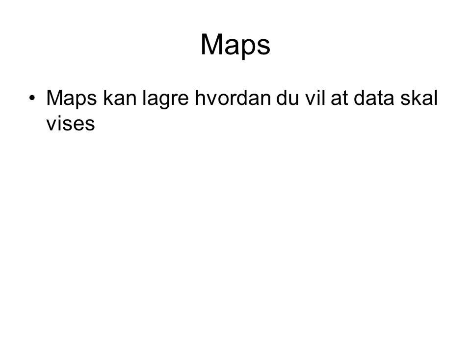 Maps Maps kan lagre hvordan du vil at data skal vises