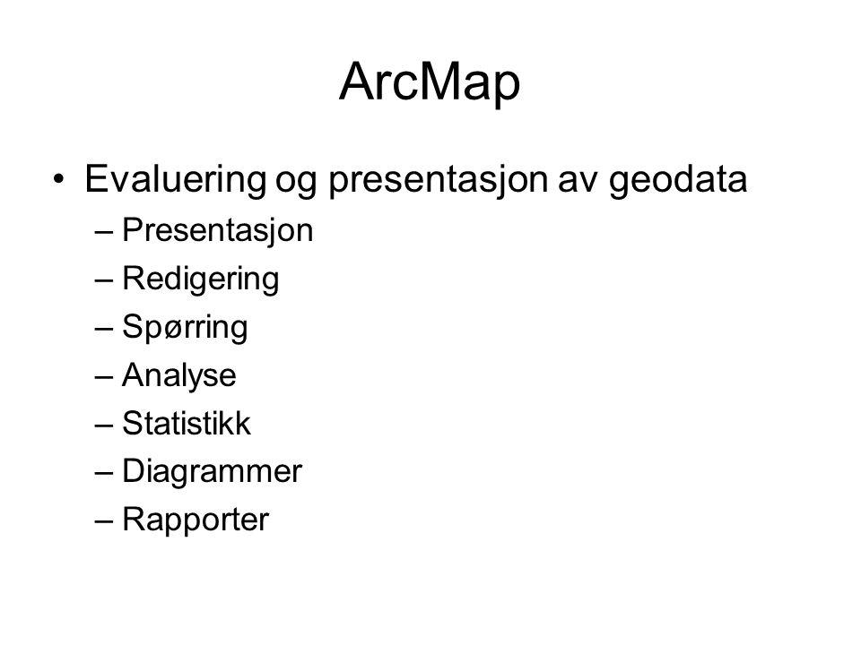 ArcMap Evaluering og presentasjon av geodata –Presentasjon –Redigering –Spørring –Analyse –Statistikk –Diagrammer –Rapporter