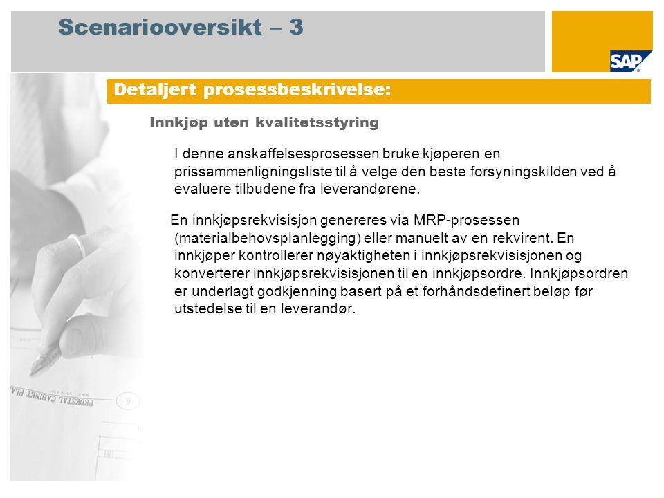 Nei Prosessforløpsdiagram Innkjøp uten kvalitetsstyring Innkjøps- sjef Innkjøper Kreditor- reskontro Lager- sjef Material- planleg- ger Godkjen -ning av innkjøp s-ordre kreves.
