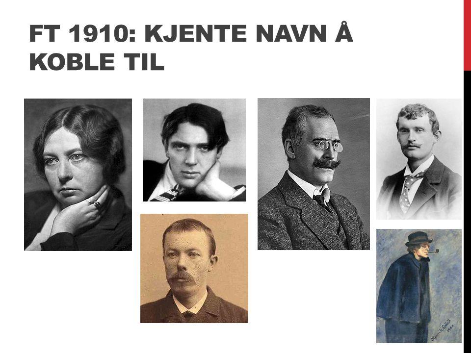 FT 1910: KJENTE NAVN Å KOBLE TIL