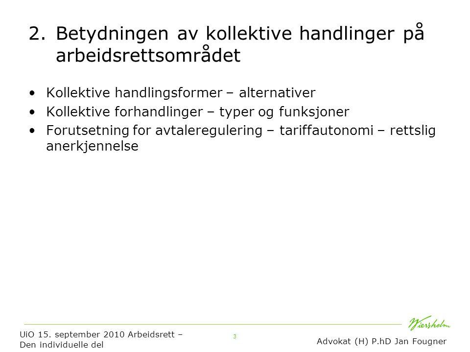 3 2. Betydningen av kollektive handlinger på arbeidsrettsområdet Kollektive handlingsformer – alternativer Kollektive forhandlinger – typer og funksjo