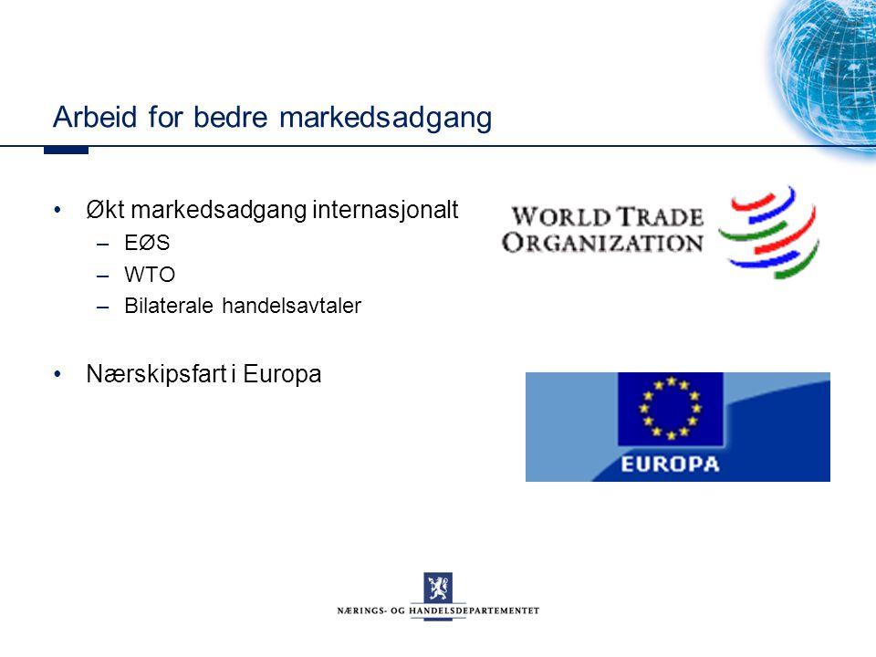 Arbeid for bedre markedsadgang Økt markedsadgang internasjonalt –EØS –WTO –Bilaterale handelsavtaler Nærskipsfart i Europa