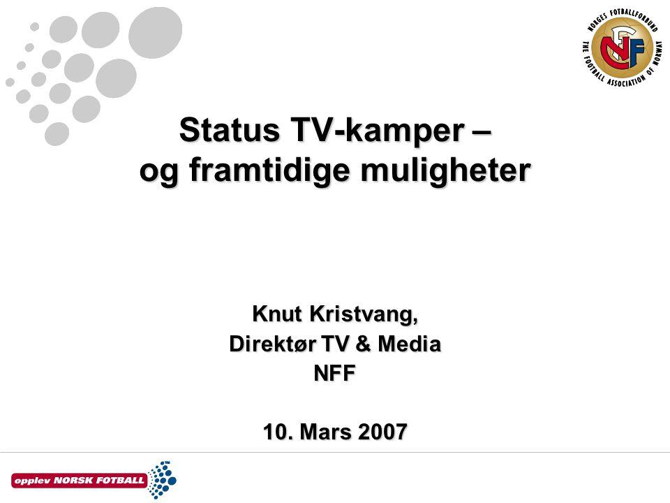 Status TV-kamper – og framtidige muligheter Knut Kristvang, Direktør TV & Media NFF 10. Mars 2007