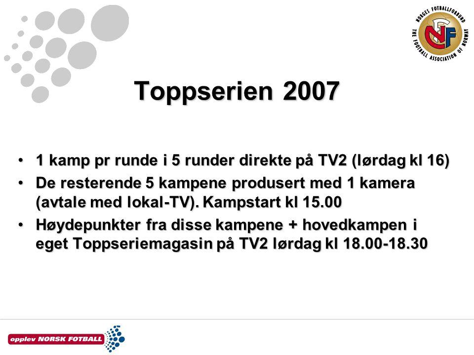 Toppserien 2007 1 kamp pr runde i 5 runder direkte på TV2 (lørdag kl 16)1 kamp pr runde i 5 runder direkte på TV2 (lørdag kl 16) De resterende 5 kampene produsert med 1 kamera (avtale med lokal-TV).
