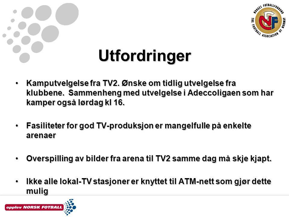 Utfordringer Kamputvelgelse fra TV2. Ønske om tidlig utvelgelse fra klubbene.