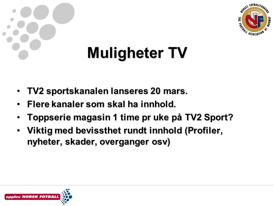 Muligheter TV TV2 sportskanalen lanseres 20 mars.TV2 sportskanalen lanseres 20 mars.