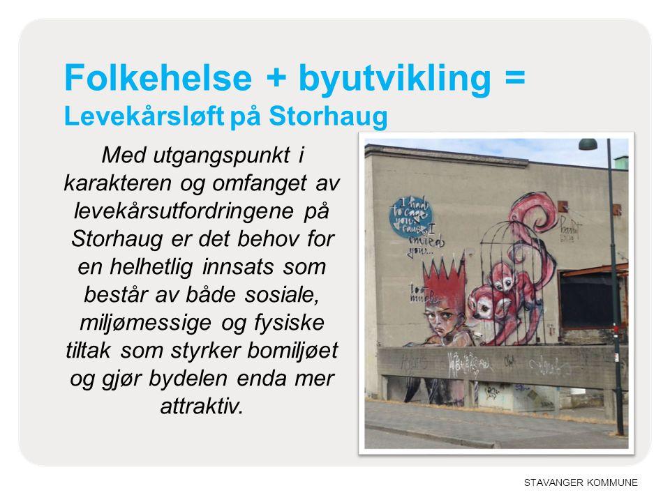 STAVANGER KOMMUNE Folkehelse + byutvikling = Levekårsløft på Storhaug Med utgangspunkt i karakteren og omfanget av levekårsutfordringene på Storhaug e