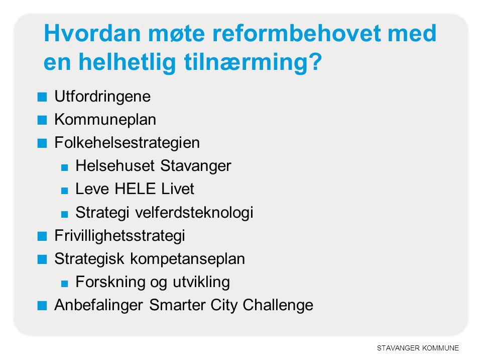 STAVANGER KOMMUNE Hvordan møte reformbehovet med en helhetlig tilnærming? ■ Utfordringene ■ Kommuneplan ■ Folkehelsestrategien ■ Helsehuset Stavanger