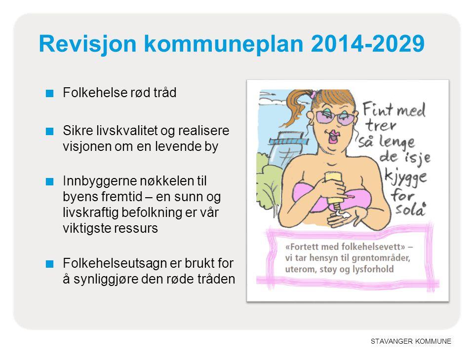 STAVANGER KOMMUNE Revisjon kommuneplan 2014-2029 ■ Folkehelse rød tråd ■ Sikre livskvalitet og realisere visjonen om en levende by ■ Innbyggerne nøkke
