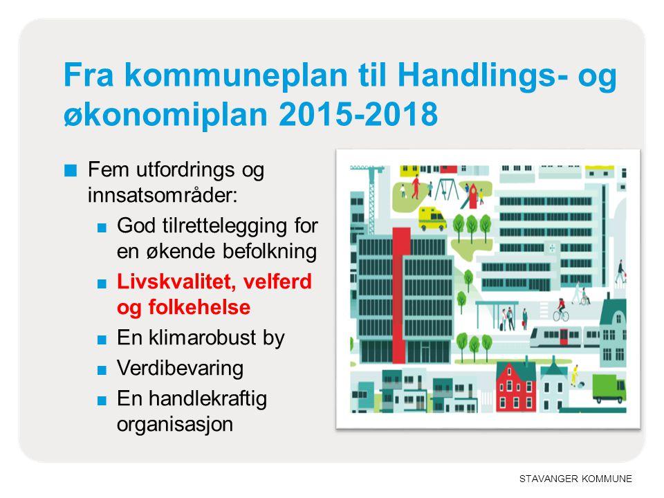 STAVANGER KOMMUNE Fra kommuneplan til Handlings- og økonomiplan 2015-2018 ■ Fem utfordrings og innsatsområder: ■ God tilrettelegging for en økende bef