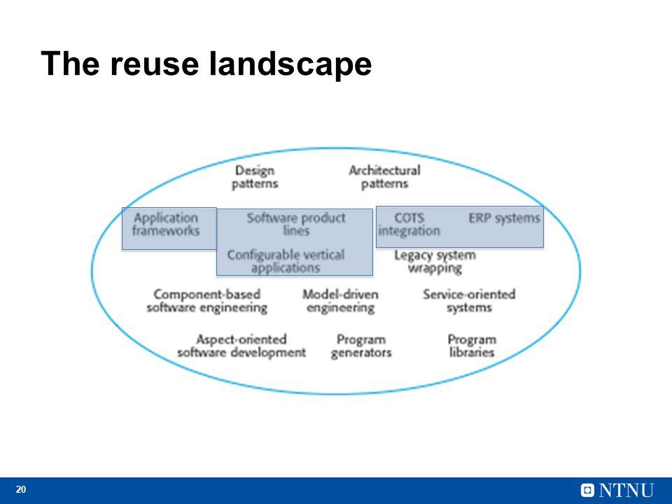 20 The reuse landscape