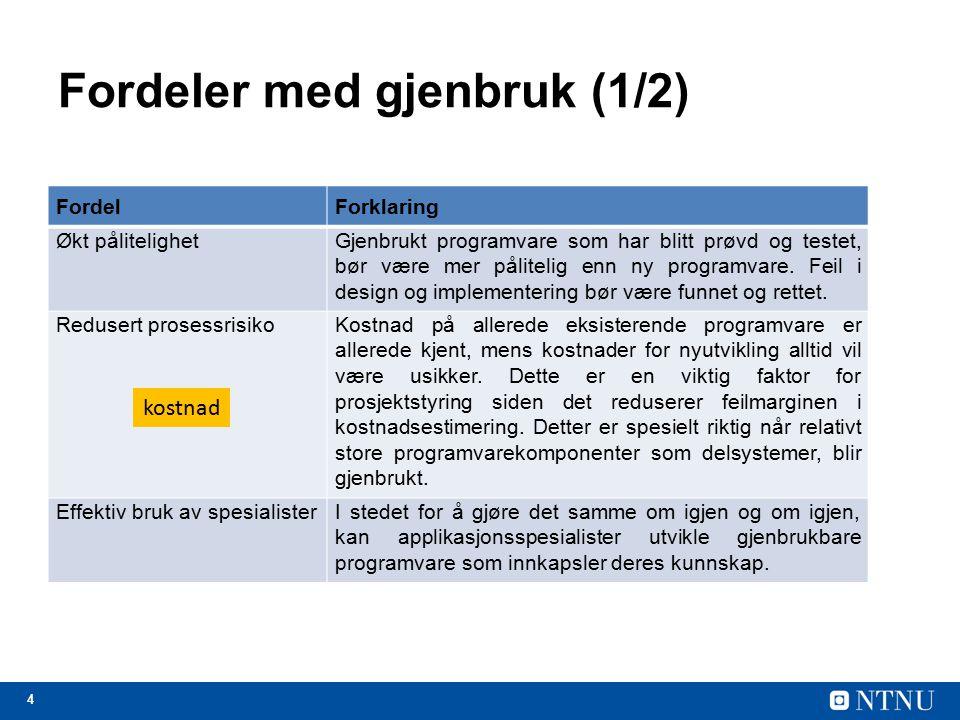5 Fordeler med gjenbruk (2/2) FordelForklaring Overholde standarderNoen standarder, som f.eks.