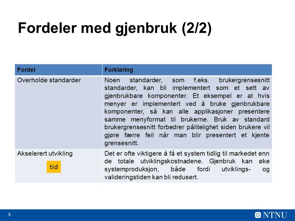 5 Fordeler med gjenbruk (2/2) FordelForklaring Overholde standarderNoen standarder, som f.eks. brukergrensesnitt standarder, kan bli implementert som