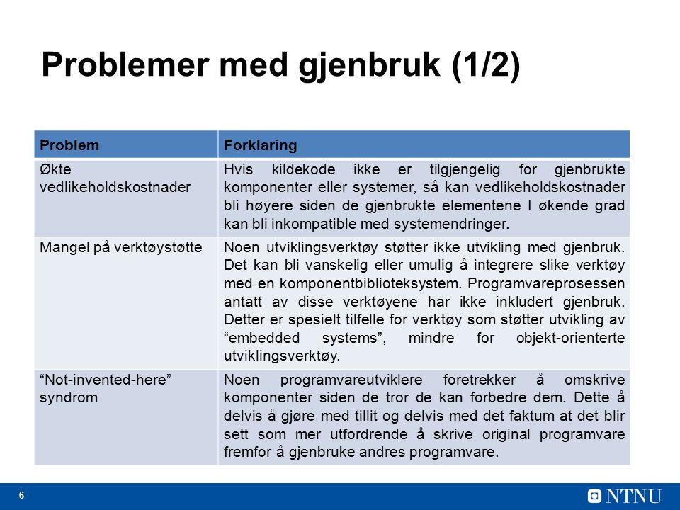 6 Problemer med gjenbruk (1/2) ProblemForklaring Økte vedlikeholdskostnader Hvis kildekode ikke er tilgjengelig for gjenbrukte komponenter eller syste
