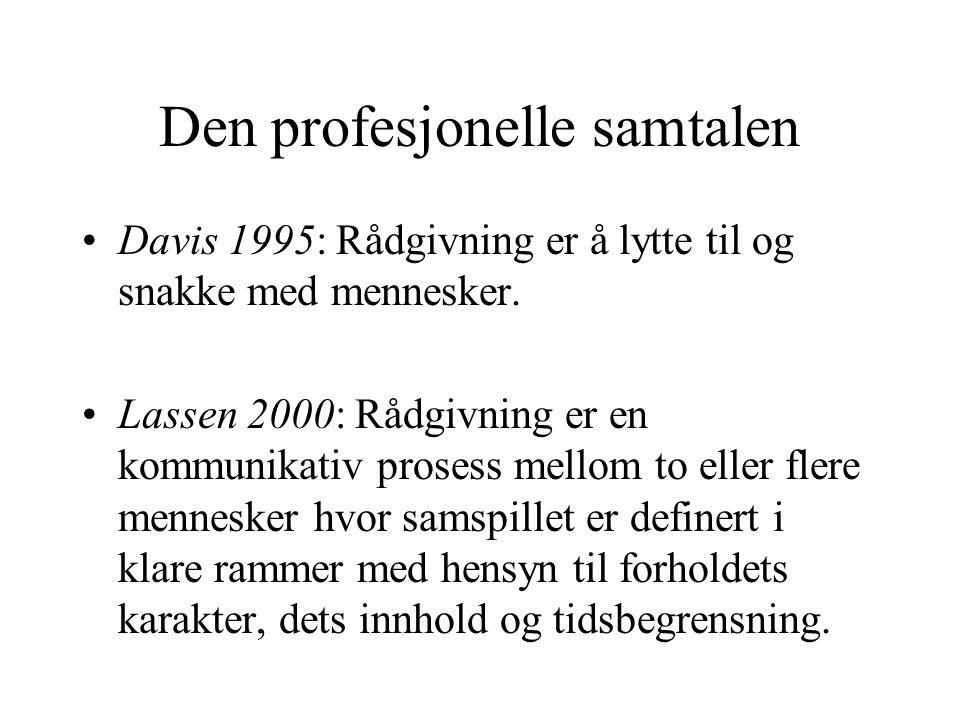 Den profesjonelle samtalen Davis 1995: Rådgivning er å lytte til og snakke med mennesker. Lassen 2000: Rådgivning er en kommunikativ prosess mellom to