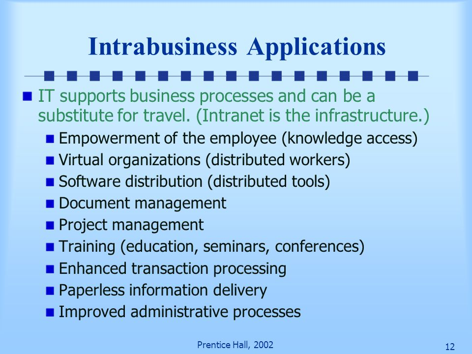Prentice Hall, 2002 11 Figure 11-2 Architecture of an Intranet