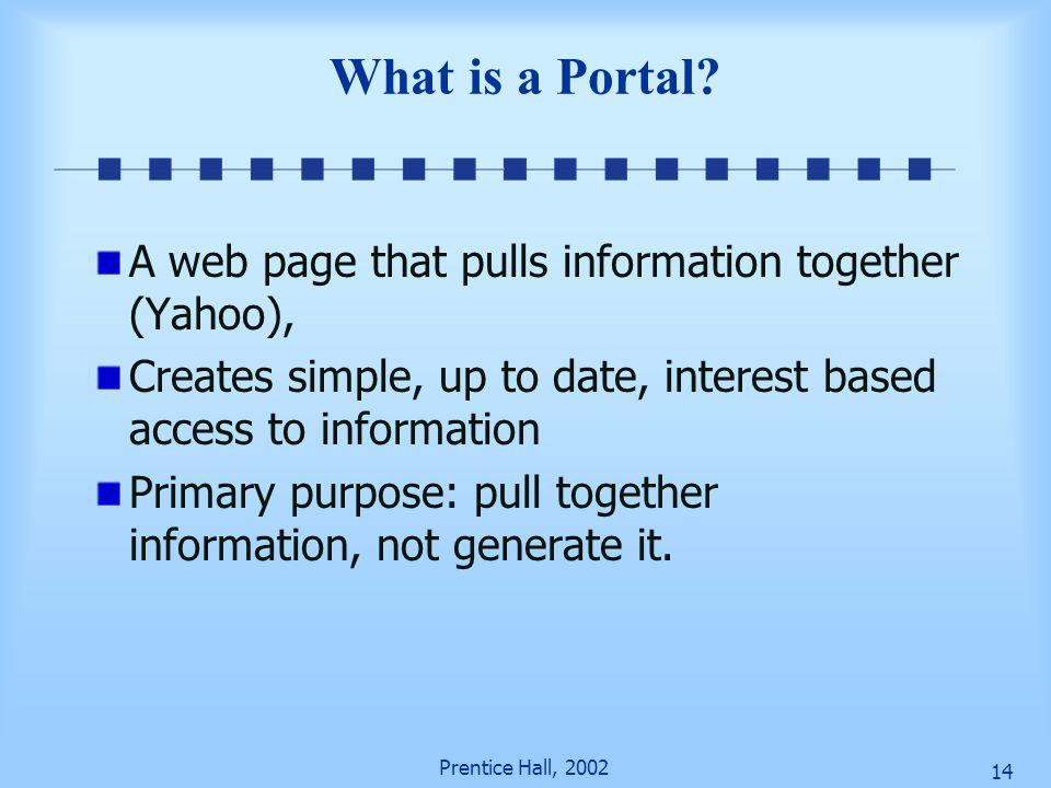 Prentice Hall, 2002 13 Enterprise (Corporate) Portals Types of portals Publishing portals Commercial portals Types of portals Personal portals Corpora