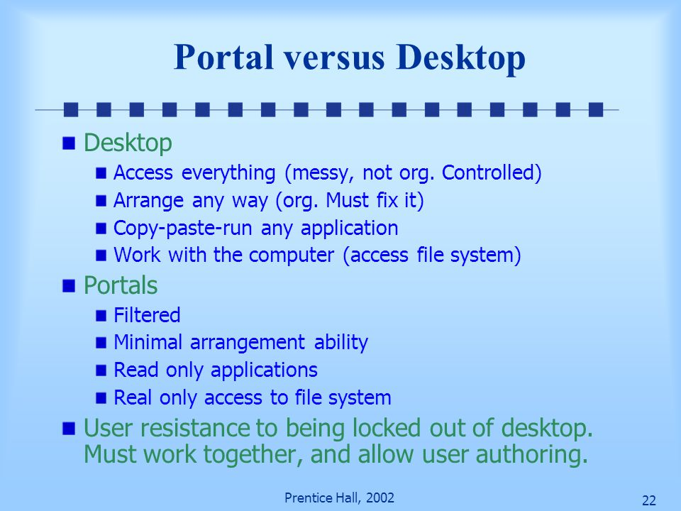 Prentice Hall, 2002 21 Books versus Portals Books Hierarchical structure – organize info Author guided Portable Solitary activity Portal Hyperlink str