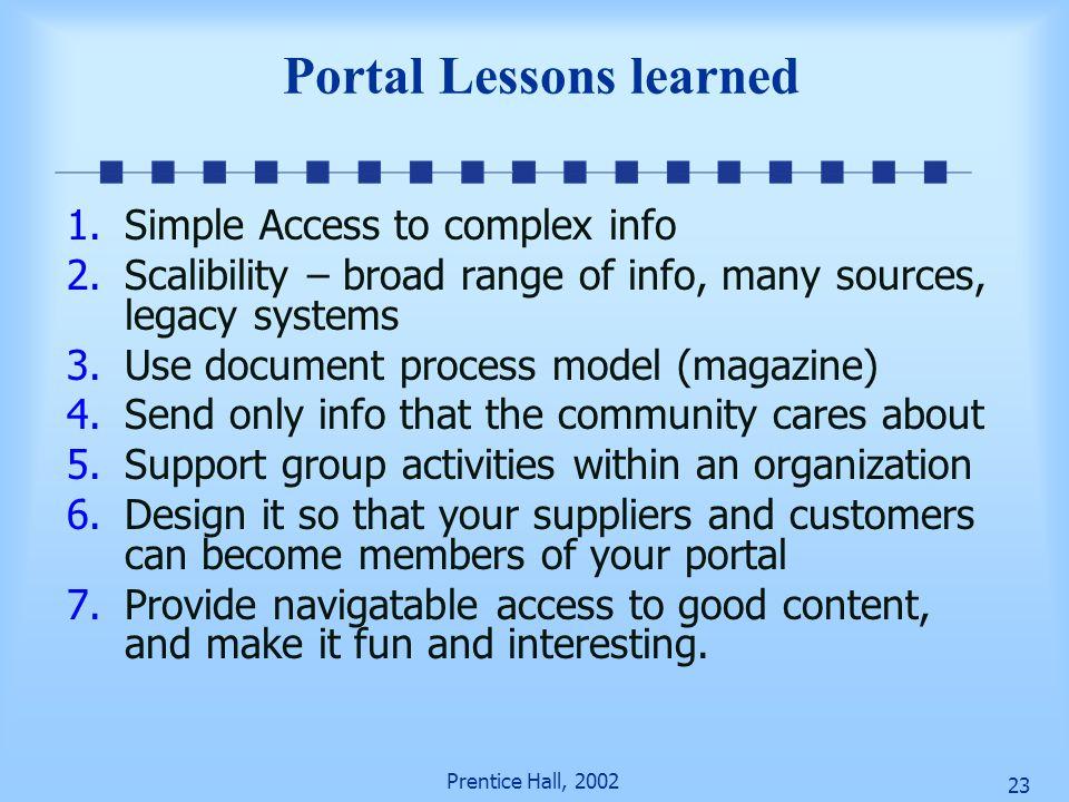 Prentice Hall, 2002 22 Portal versus Desktop Desktop Access everything (messy, not org. Controlled) Arrange any way (org. Must fix it) Copy-paste-run