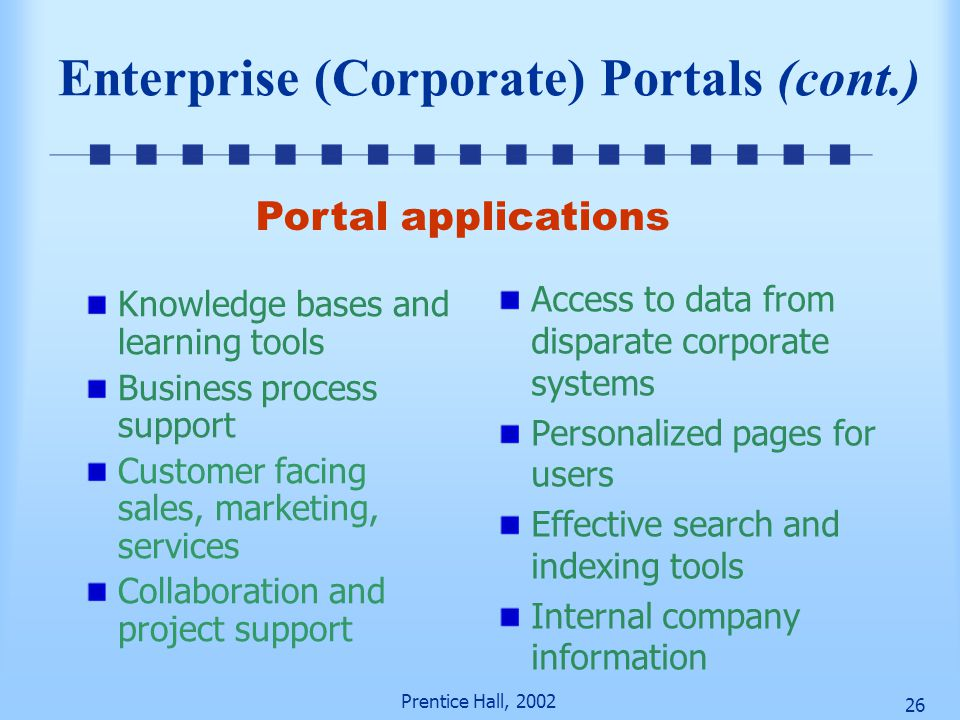Prentice Hall, 2002 25 Figure 11-4 Corporate Portal as a Gateway to Information Source: Tibco.com