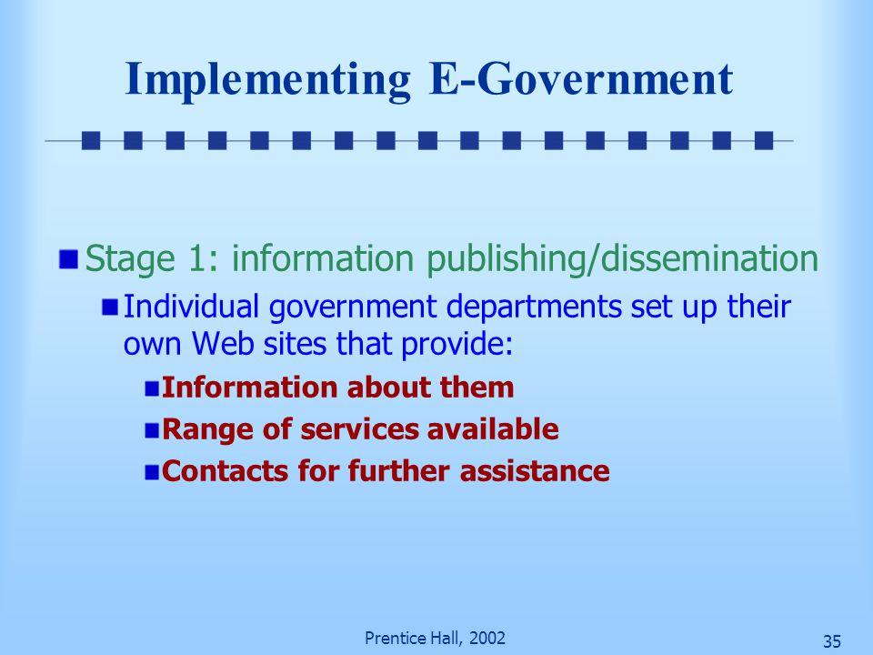 Prentice Hall, 2002 34 Major Categories of Applications of E-Government (cont.) Government-to-government Intelink—sharing information between intellig