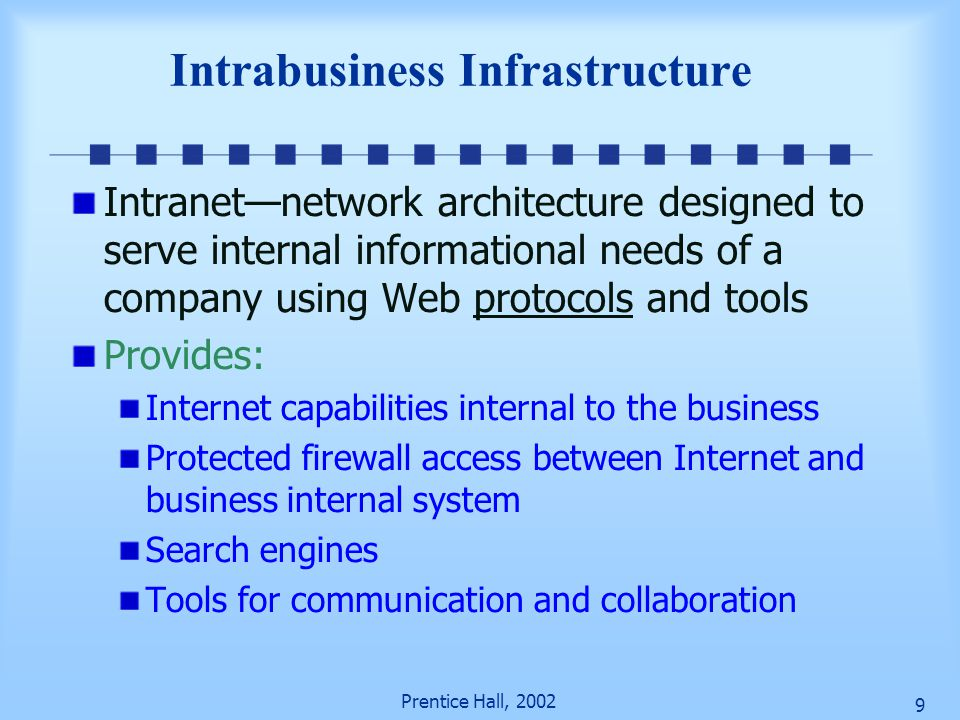 Prentice Hall, 2002 9 Intrabusiness Infrastructure Intranet—network architecture designed to serve internal informational needs of a company using Web protocols and tools Provides: Internet capabilities internal to the business Protected firewall access between Internet and business internal system Search engines Tools for communication and collaboration