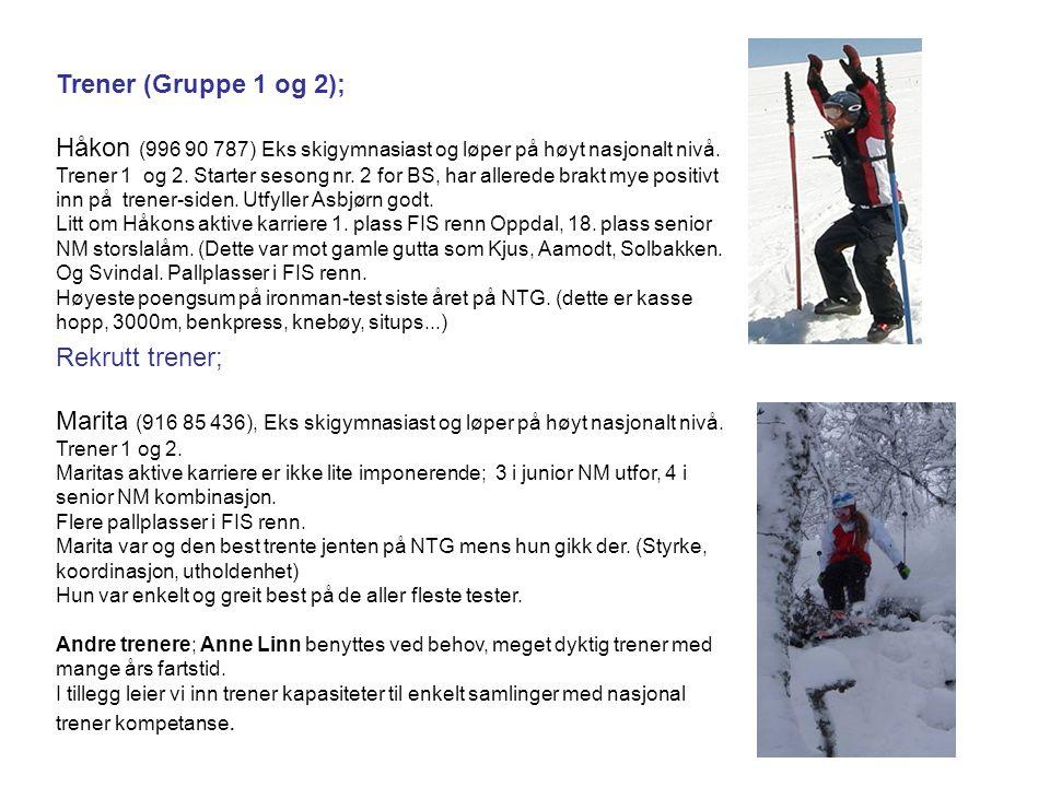 Trener (Gruppe 1 og 2); Håkon (996 90 787) Eks skigymnasiast og løper på høyt nasjonalt nivå. Trener 1 og 2. Starter sesong nr. 2 for BS, har allerede