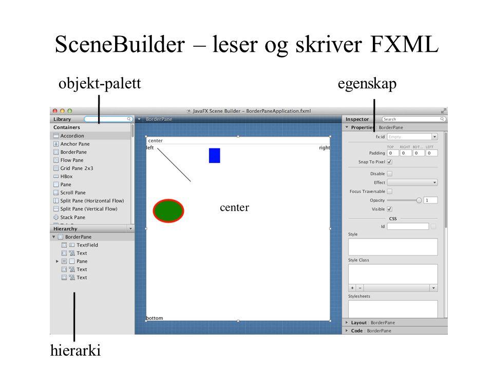SceneBuilder – leser og skriver FXML hierarki egenskapobjekt-palett
