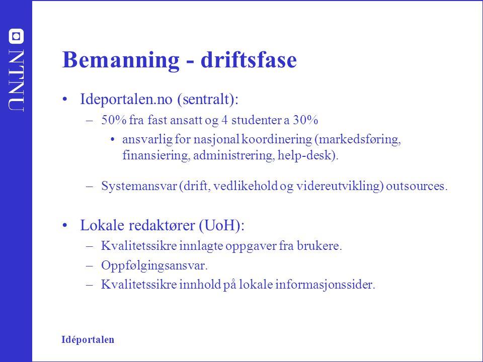 Idéportalen Bemanning - driftsfase Ideportalen.no (sentralt): –50% fra fast ansatt og 4 studenter a 30% ansvarlig for nasjonal koordinering (markedsføring, finansiering, administrering, help-desk).